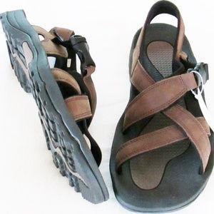 Lands End mens new size 12D sandals leather brown